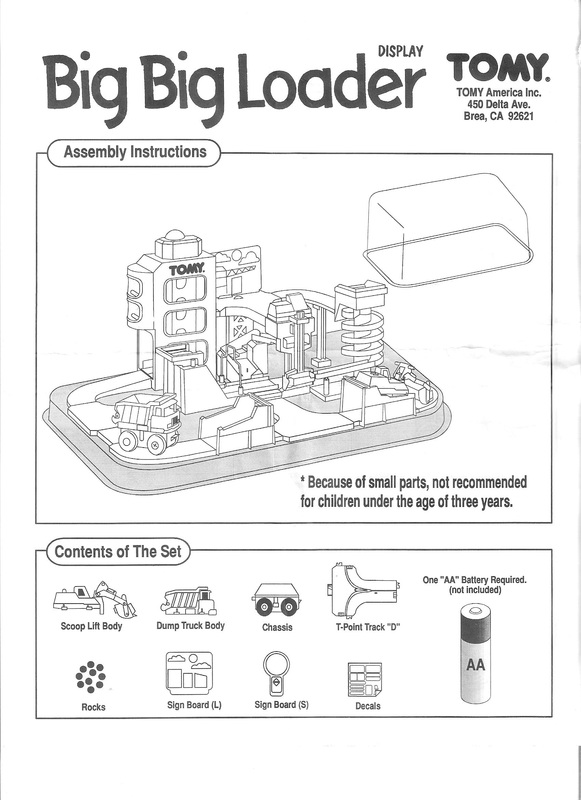 Tomy thomas & friends big loader 2001 6563 replacement manual and.